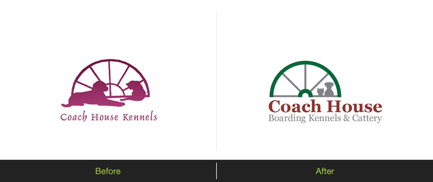 Coach House Boarding Kennels - Logo Before & After