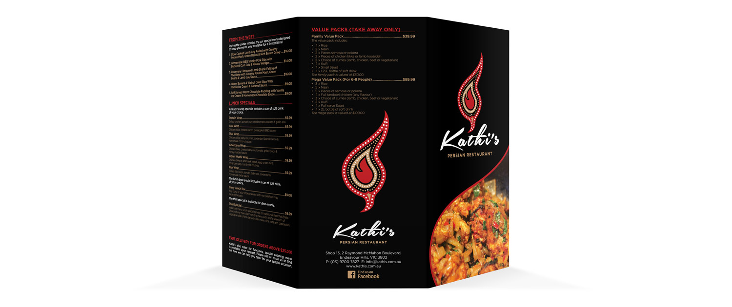 Kathi's Persian Indian Restaurant - Menu Design