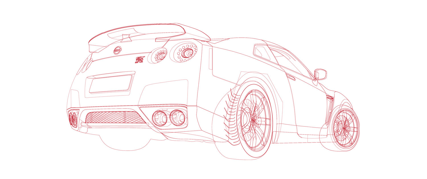 Nissan GT-R - Illustration Outlines